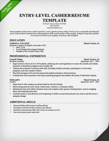 Cashier example resume